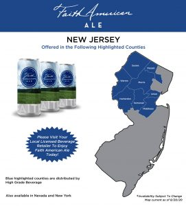 New Jersey map showing where Faith American Ale is available