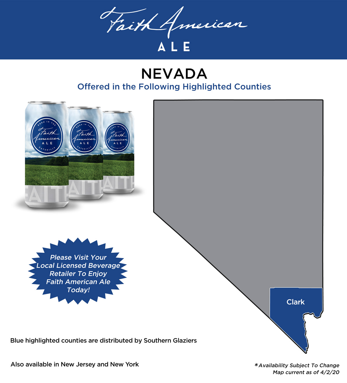 Nevada mad showing where Faith American Ale is available