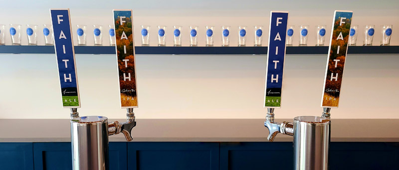 Faith American Ale and IPA tap handles