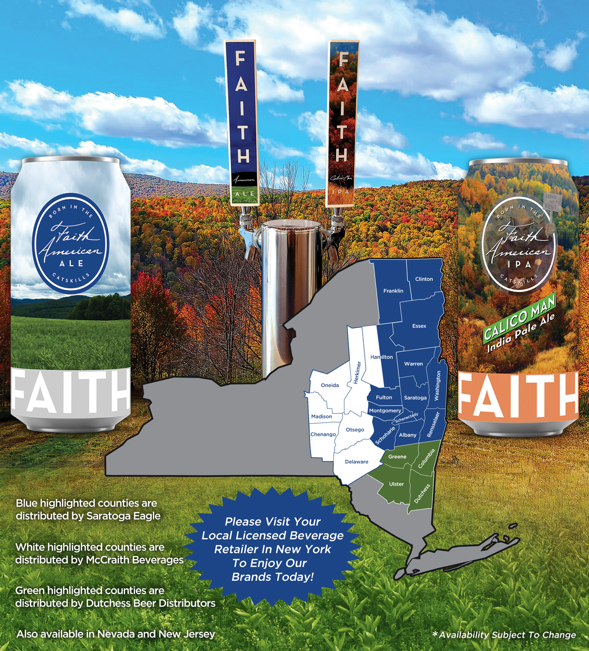 New York counties where Faith American Ale is offered