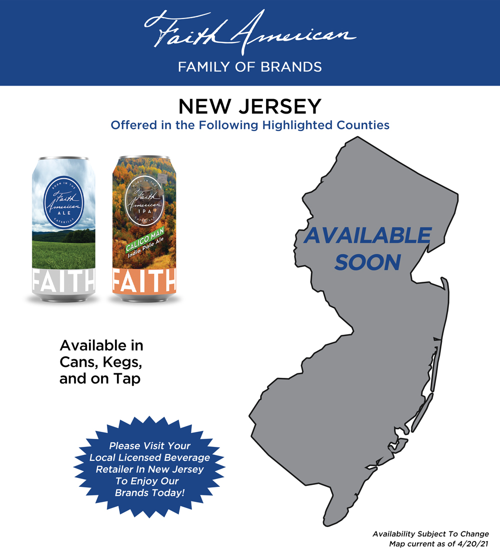 Map showing where Faith American Brewing Company Brands can be found in New Jersey