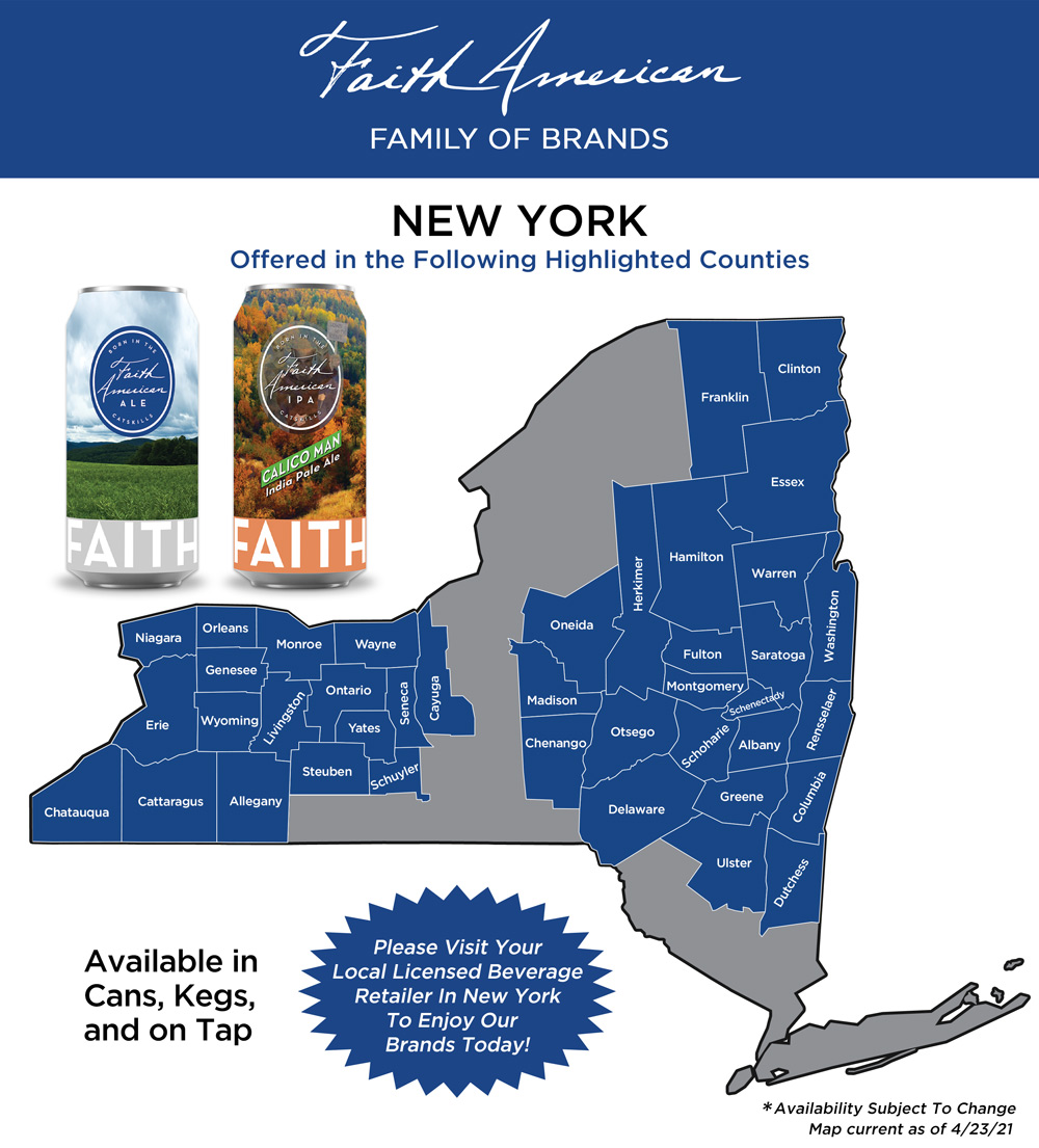 Map showing where Faith American Brewing Company Brands can be found in New York