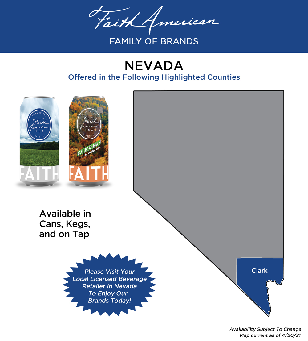 Map showing where Faith American Brewing Company Brands can be found in Nevada
