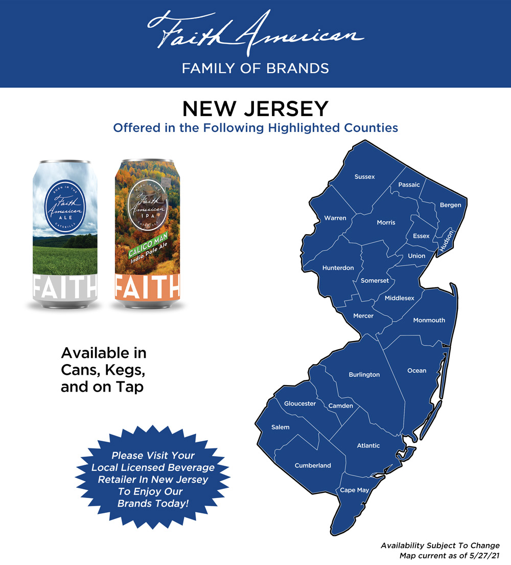 Counties in new jersey where Faith American brands can be found